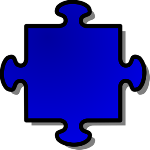 blue jigsaw puzzle piece with 4 tabs, no blanks