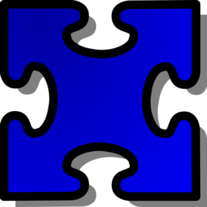 blue jigsaw puzzle piece with 4 blanks, no tabs