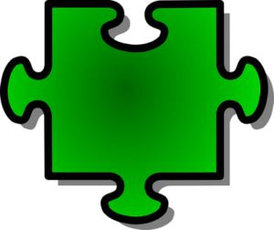 green jigsaw puzzle piece with 3 tabs, 1 blank