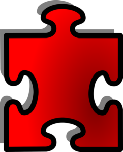 red jigsaw puzzle piece with one tab, 3 blanks