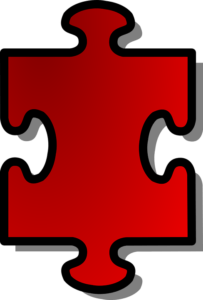 red jigsaw puzzle piece with 2 opposite tabs, 2 opposite blanks